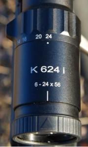 Detalle del rango de aumentos del visor Kahles de la serie K624I
