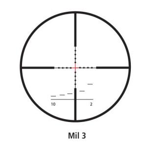 Retícula MIL3 con la cruceta iluminada
